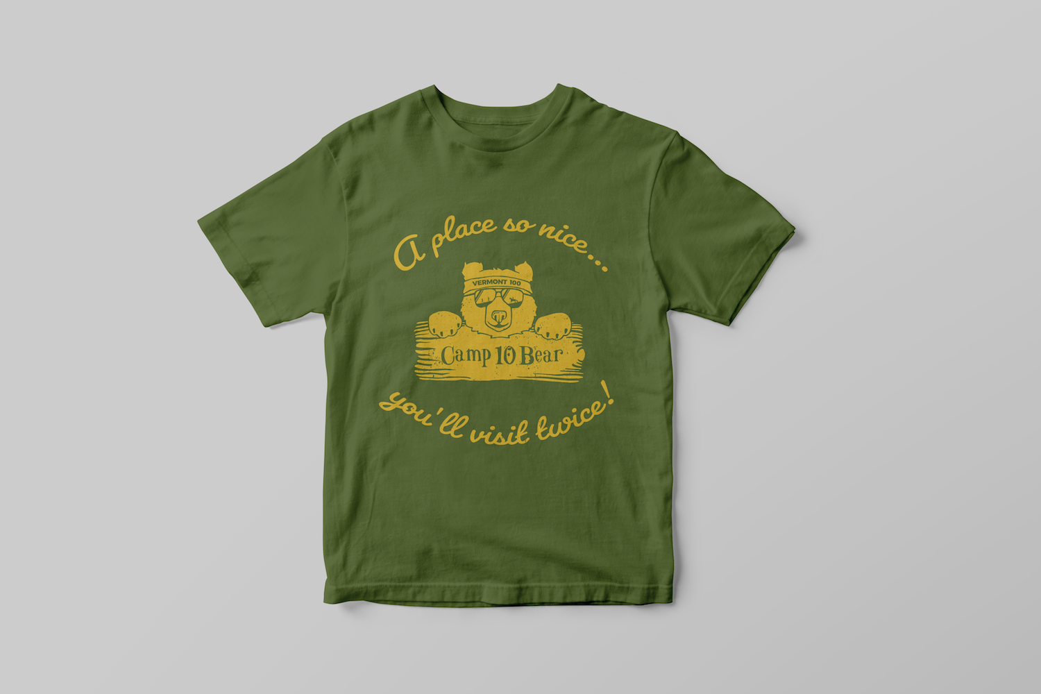 Vermont 100 - Project - Camp 10 Bear Green T-Shirt Design Apparel Example